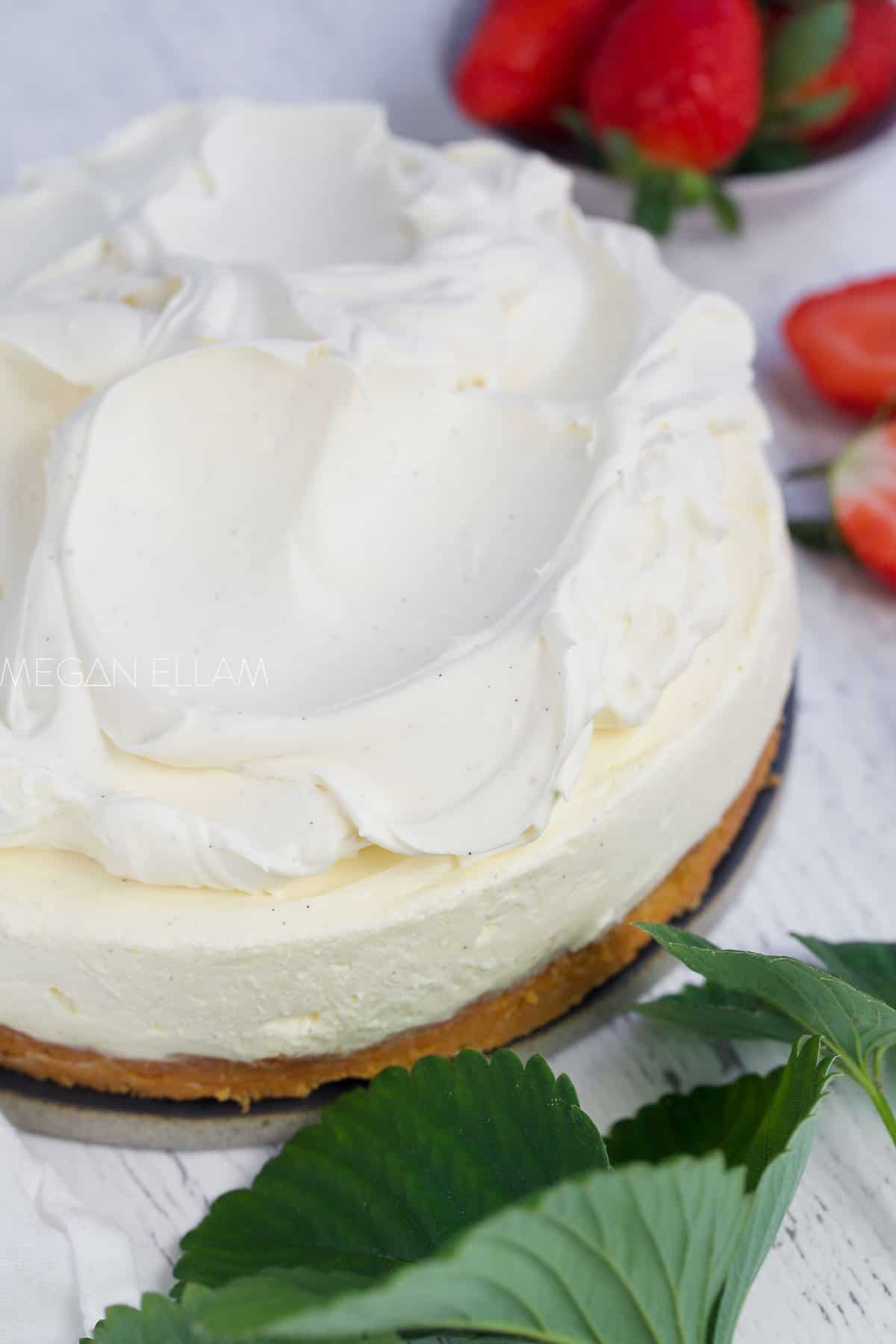 Cream on top of a cheesecake.