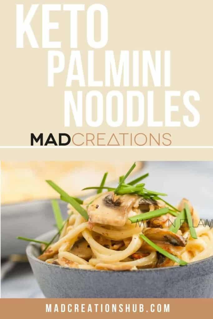 Palmini pasta in a blue bowl