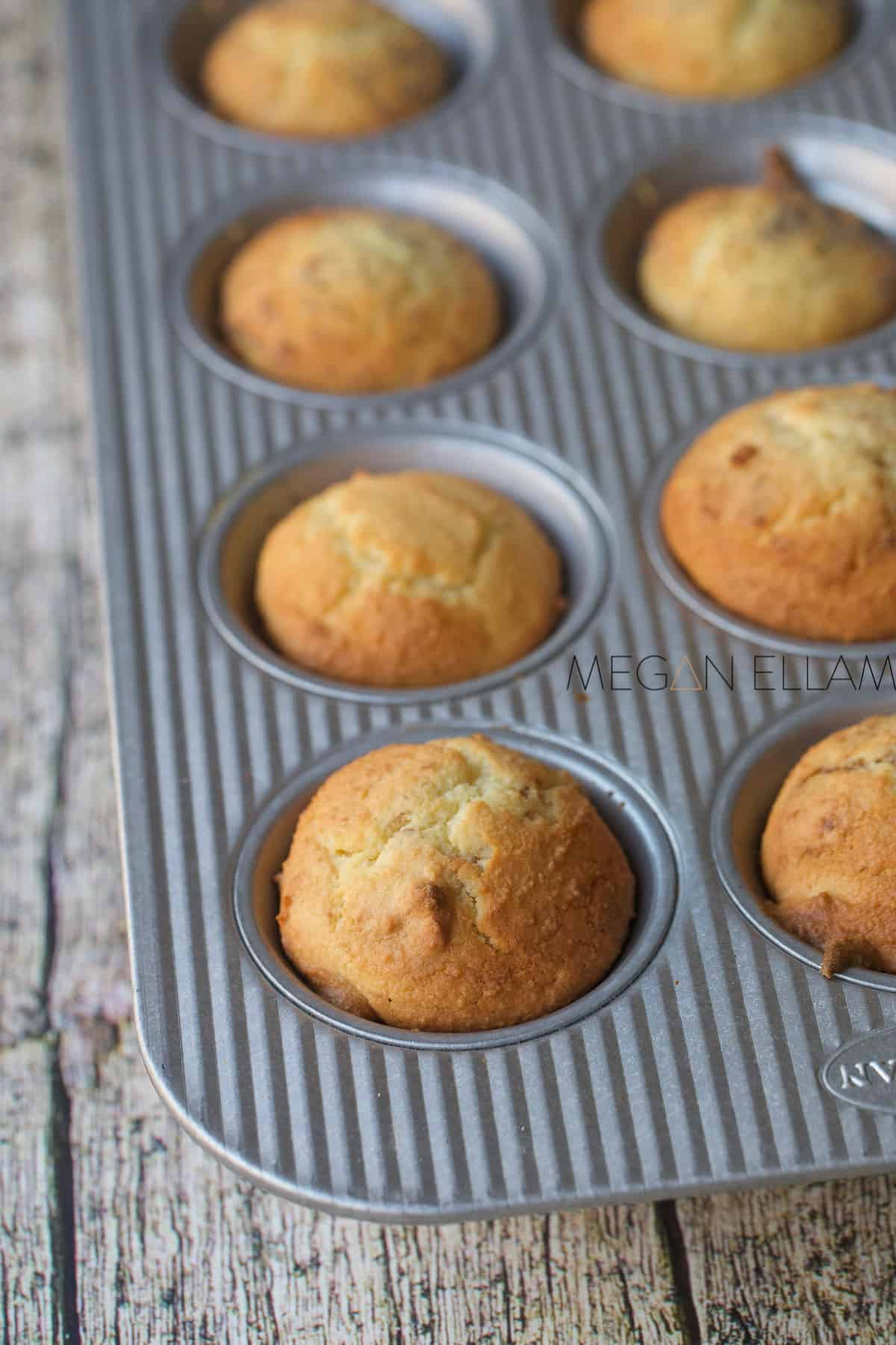 Baked cupcakes in a muffin tray.