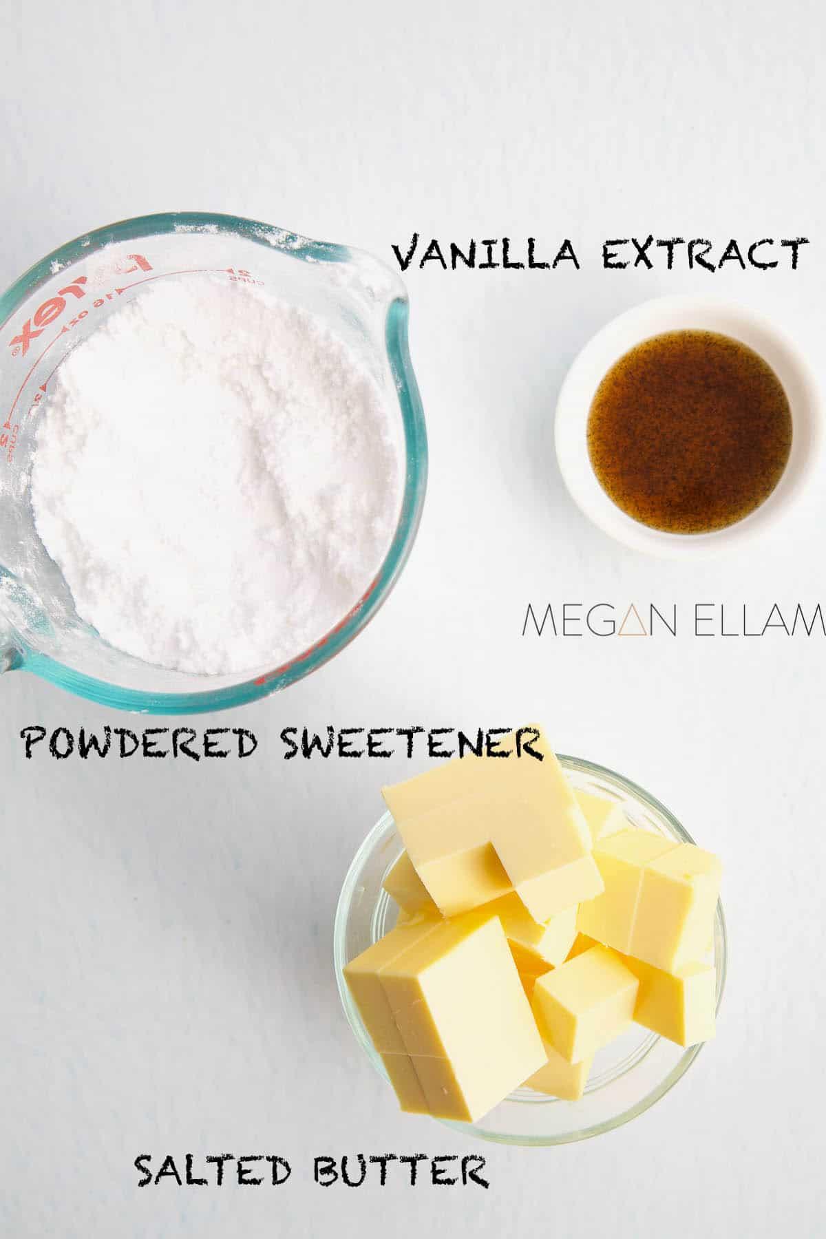Keto Frosting ingredients in 3 bowls.