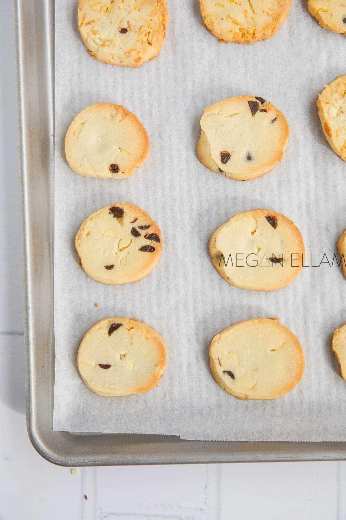 Almond Flour Cookies on a baking tray.