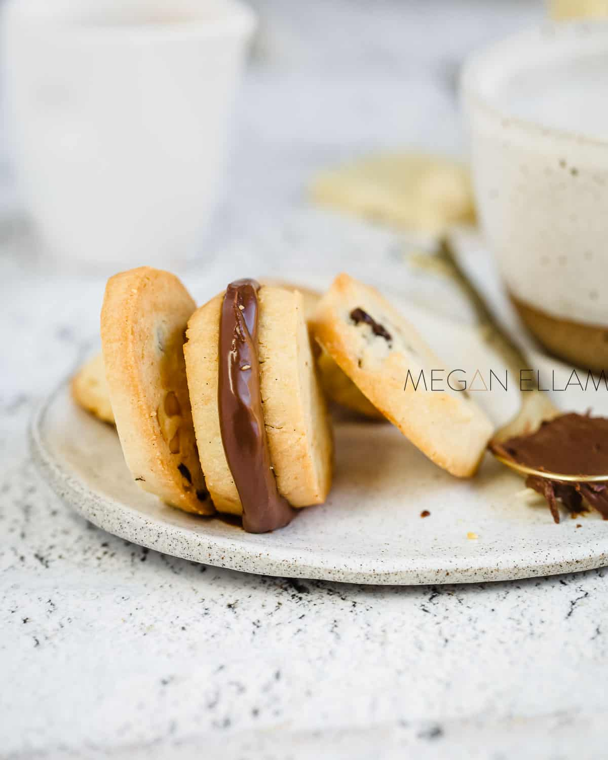 Choc chip keto cookies on a plate.