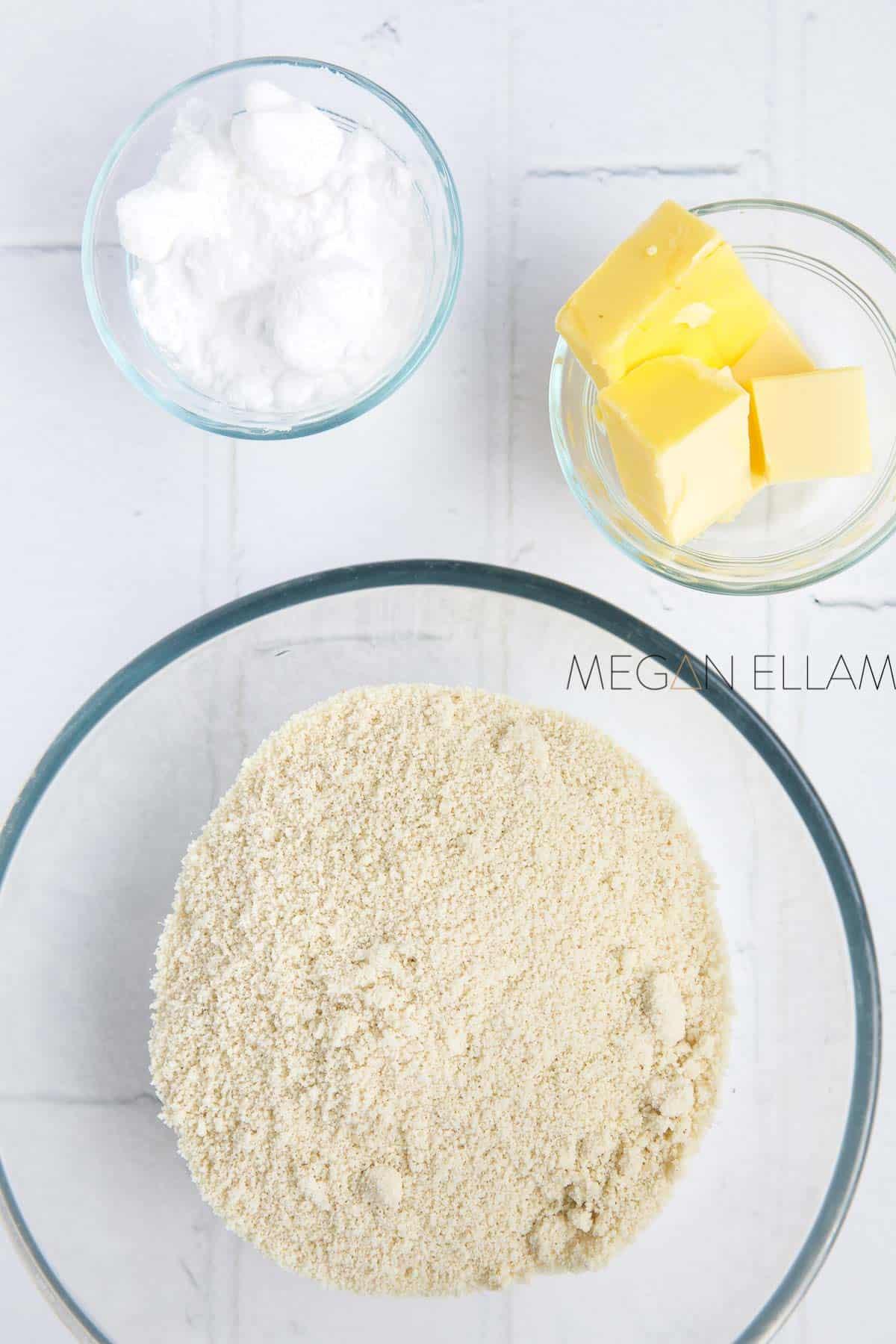 Almond Flour Cookies ingredients in 3 bowls