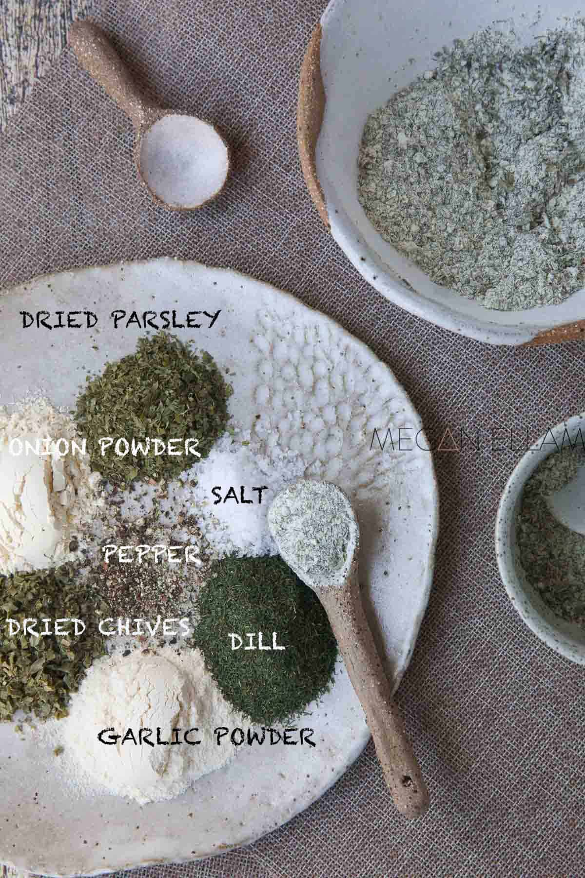 Keto Ranch Dressing Ingredients on a plate.