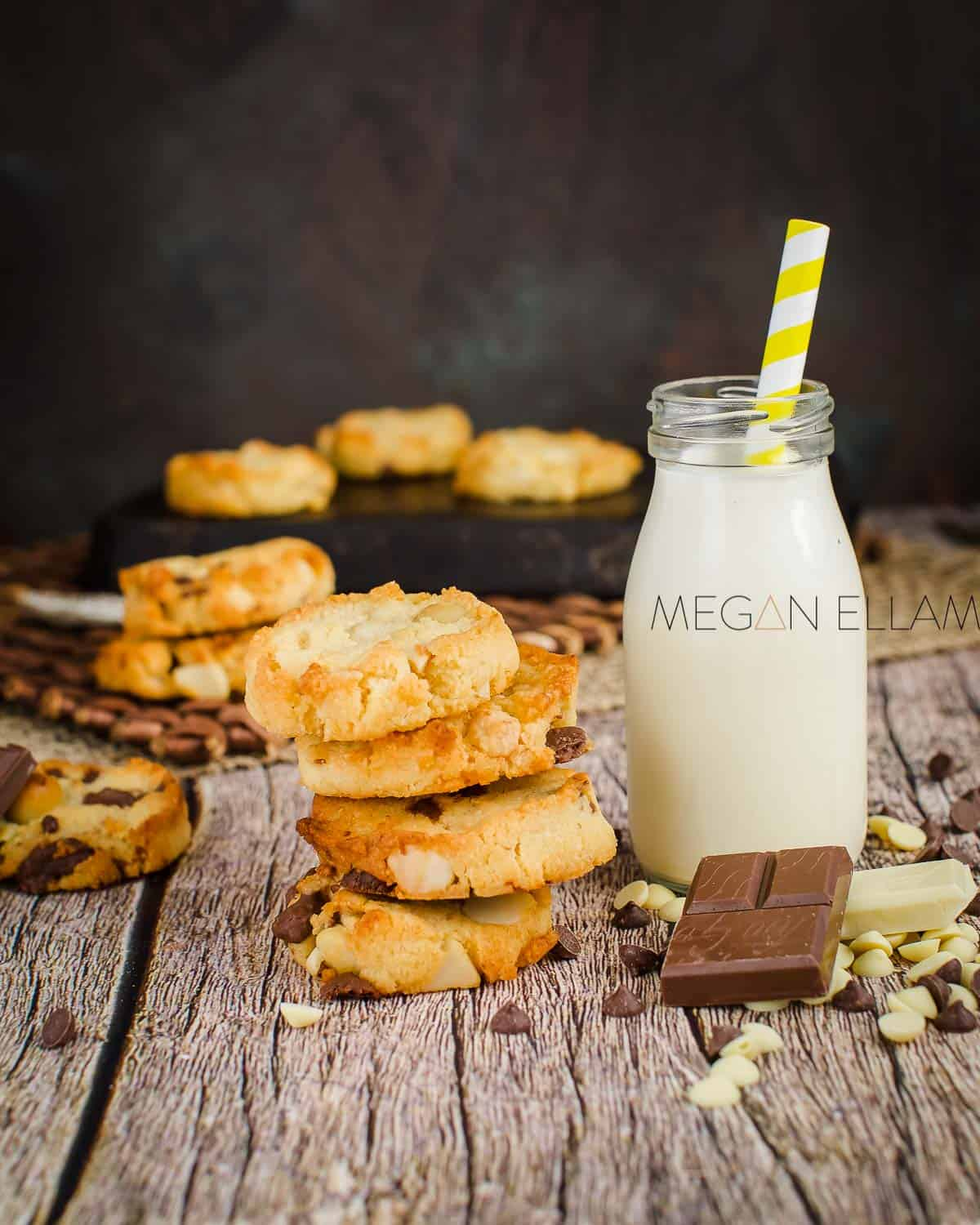 A glass of keto milk and cookies.