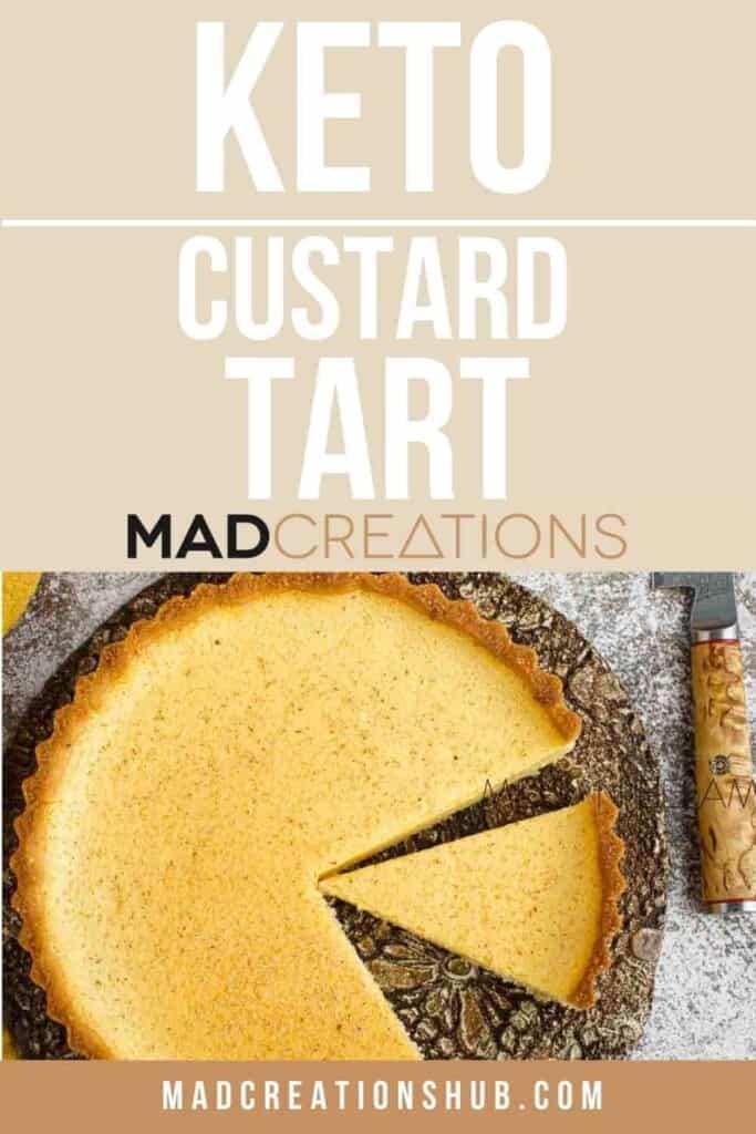 Keto Custard Tart Pinterest banner.