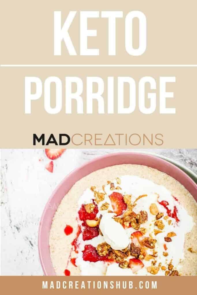 Pink bowl with porridge in it.
