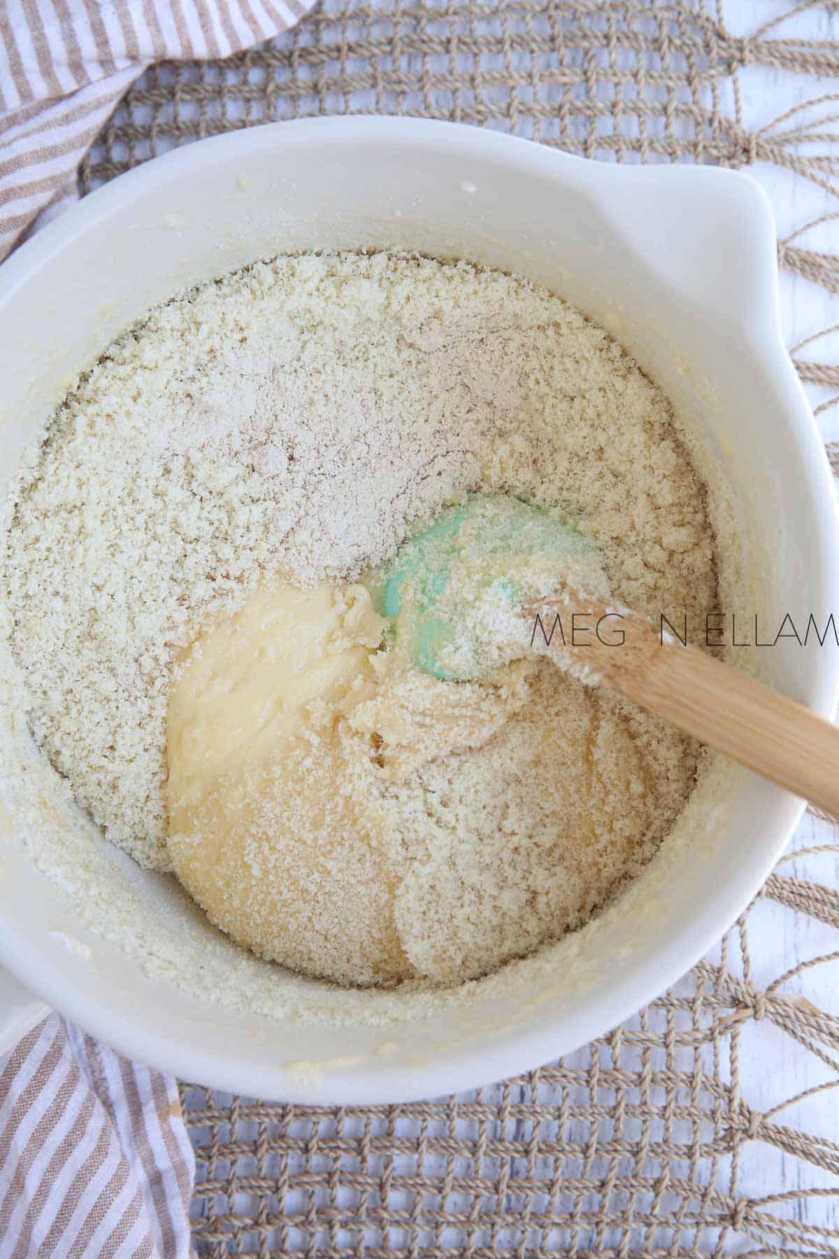Mixing almond meal into fathead dough.
