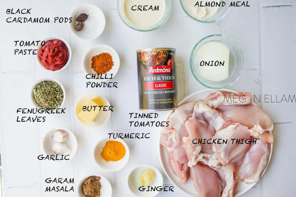 Butter Chicken Ingredients on a white table.