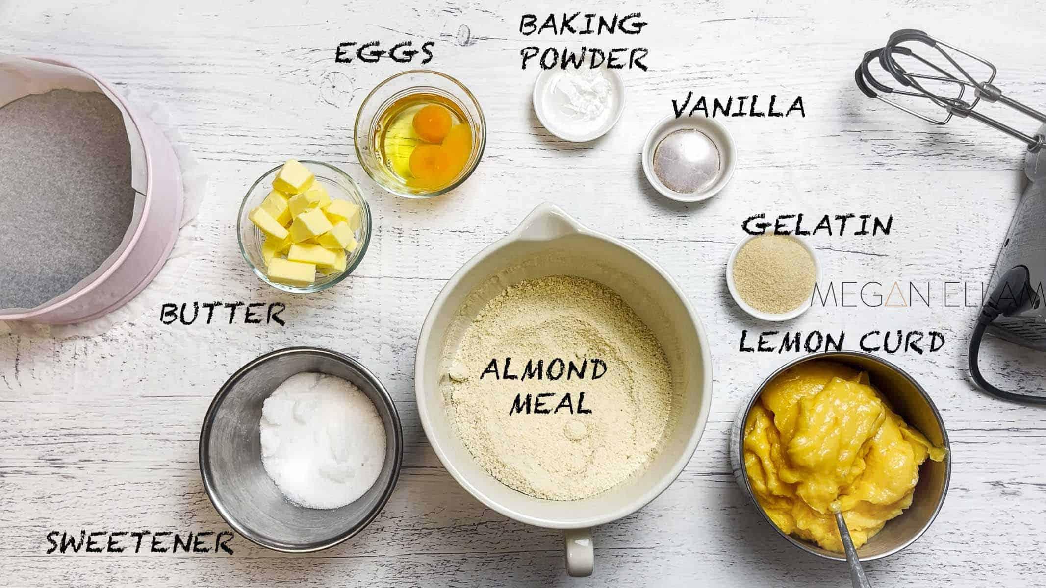 Lemon cake ingredients in small bowls
