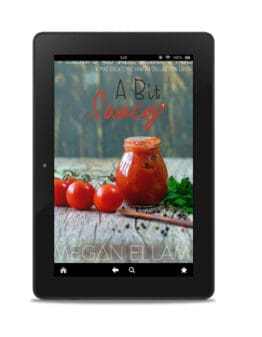 A Bit Saucy eBook cover on an ipad.