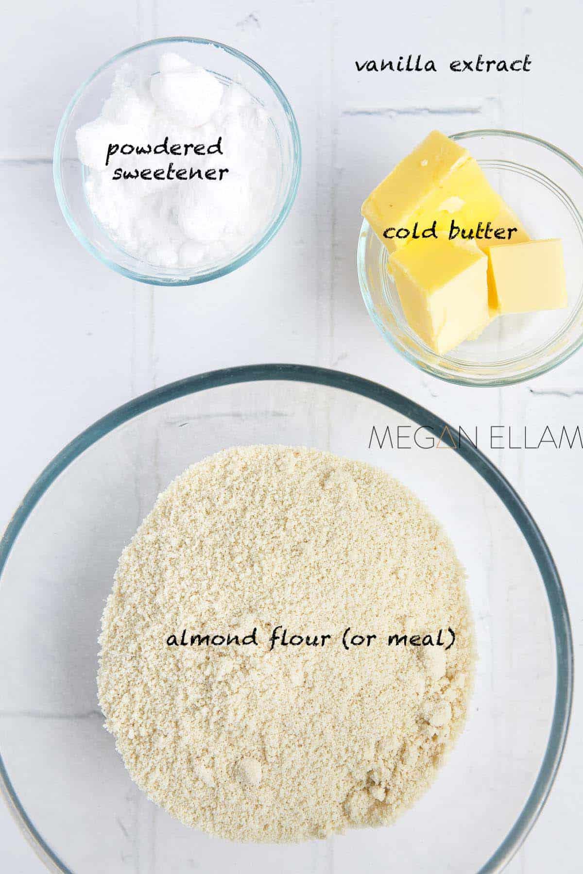 Almond Flour Pie Crust ingredients in bowls.