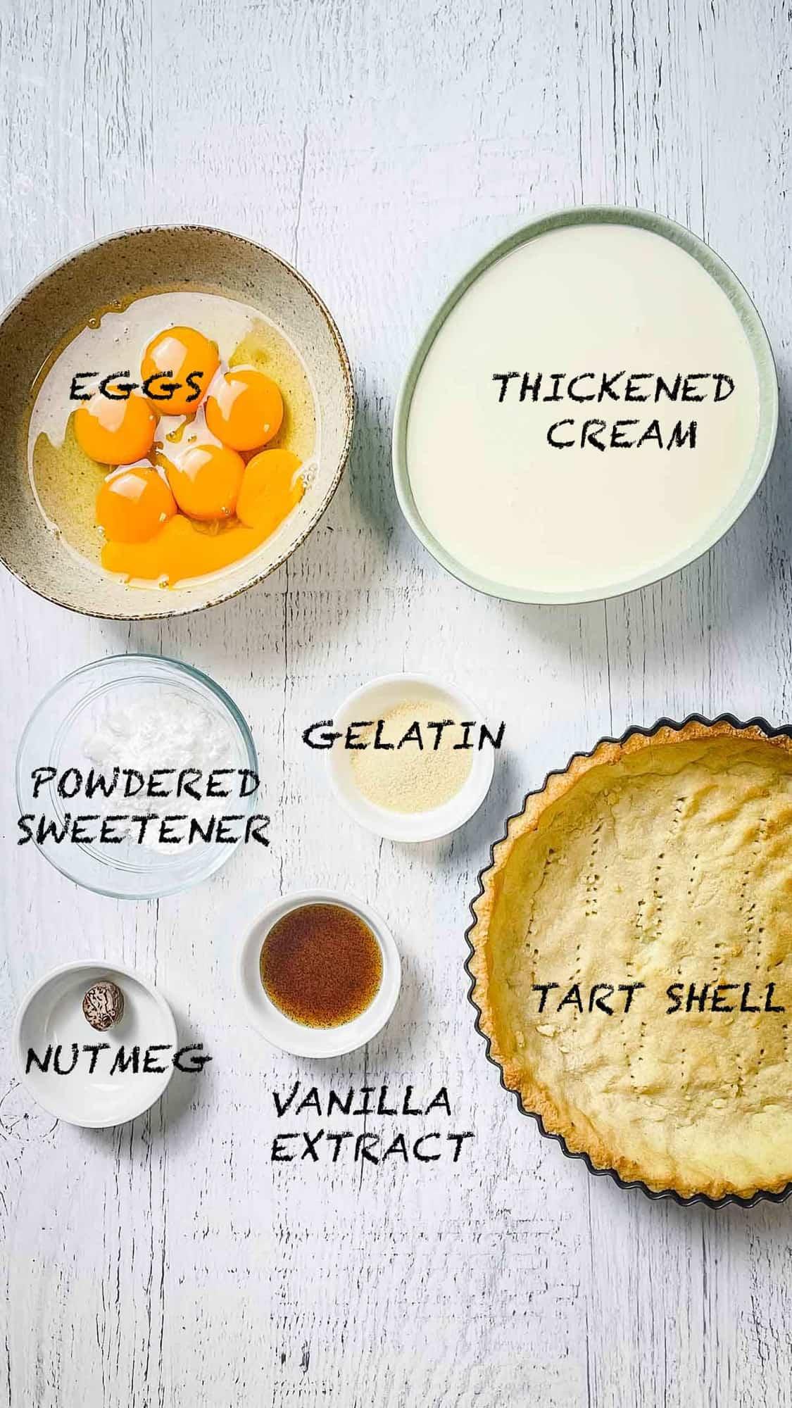 Keto Custard Tart Ingredients in small bowls.